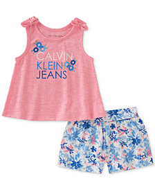 Calvin Klein Little Girls 2-Pc. Tank Top & Floral-Print Shorts Set