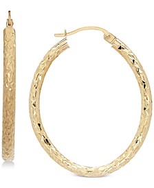 Textured Oval Hoop Earrings in 14k Gold, 1 3/8 inch