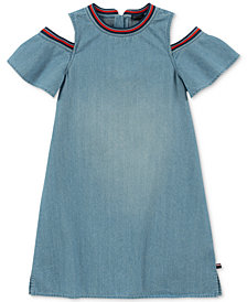 Tommy Hilfiger Big Girls Cotton Cold Shoulder Denim Dress