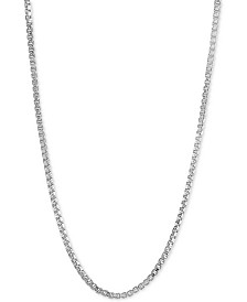 "Giani Bernini Adjustable 16""- 22"" Box Link Necklace in Sterling Silver, Created for Macy's"
