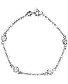 Cubic Zirconia Station Bracelet in Sterling Silver, Created for Macy's