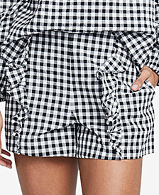 RACHEL Rachel Roy Calle Gingham Ruffled Shorts, Created for Macy's