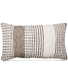 "Lacourte Roselin Handwoven Textured Geo-Stripe 14"" x 24"" Square Decorative Pillow, Created for Macy's"