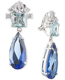 Carolee Silver-Tone Crystal Clip-On Drop Earrings