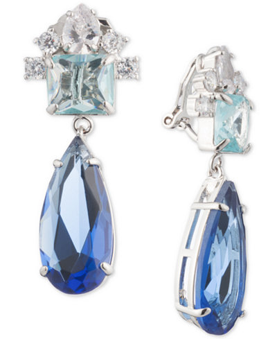 Carolee Silver Tone Crystal Clip On Drop Earrings