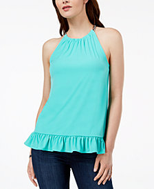 MICHAEL Michael Kors Ruffled Halter Top in Regular & Petite Sizes, Created for Macy's