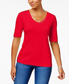 Karen Scott Elbow-Sleeve Cotton Top, Created for Macy's