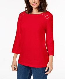 Karen Scott Lace-Up T-Shirt, Created for Macy's