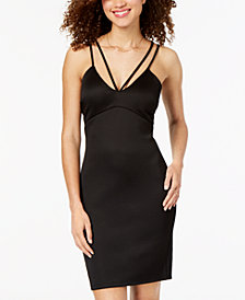 Sequin Hearts Juniors' Ruched Strappy Bodycon Dress