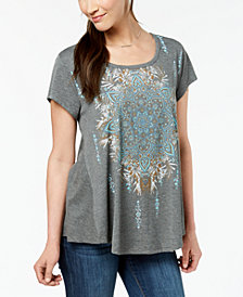Style & Co Graphic-Print Swing T-Shirt, Created for Macy's