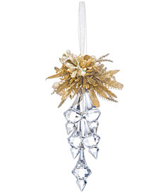 Ganz Kissing Krystals Mistletoe Finial Cluster Ornament with Snowberries