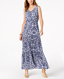 NY Collection Petite Printed Smocked-Waist Tiered Maxi Dress