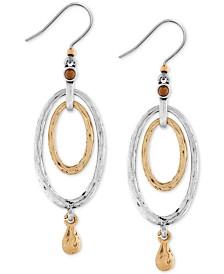 Lucky Brand Earrings, Two-Tone Oval Orbital Drop Earrings
