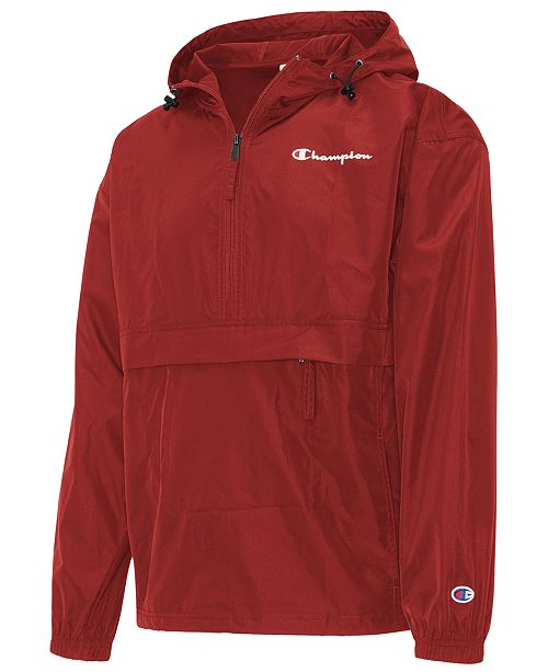 b0075601 ... Champion Men's Packable Half-Zip Hooded Water-Resistant Jacket ...