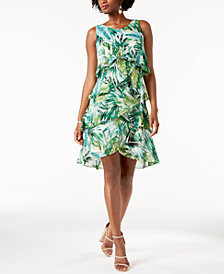 SL Fashions Palm-Print Tiered Shift Dress