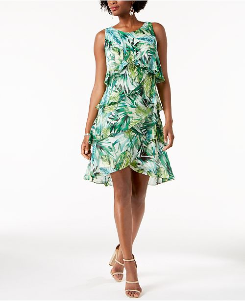 Green SL Print Palm Shift Dress Fashions Tiered xAqPgAFw