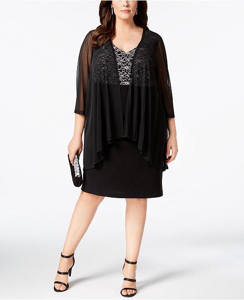 Jacket Black Plus Sheer Lace Dress amp; Size Connected wxXO0Wvq4q