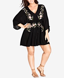 City Chic Trendy Plus Size Embroidered Tunic Dress