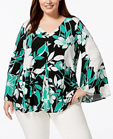 Alfani Plus Size Bell-Sleeve Top, Created for Macy's