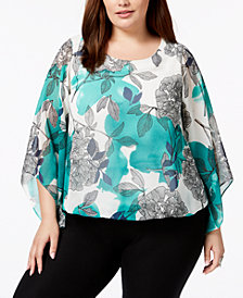 Alfani Plus Size Plus Size Printed Kimono-Sleeve Top, Created for Macy's