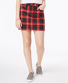 Vanilla Star Juniors' Plaid Denim Mini Skirt