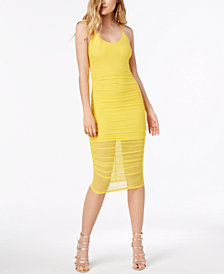 Material Girl Juniors' Ruched Crisscross Bodycon Dress, Created for Macy's