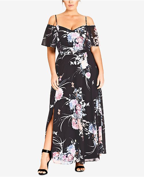 Trendy Plus Size Printed Cold-Shoulder Maxi Dress