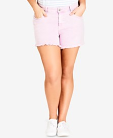 City Chic Trendy Plus Size Colored Denim Shorts