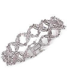 Nina Silver-Tone Cubic Zirconia  Flower Link Bracelet