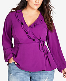 City Chic Trendy Plus Size Ruffled Wrap Top