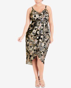 Trendy Plus Size Printed Faux-Wrap Dress in Sweet Temp