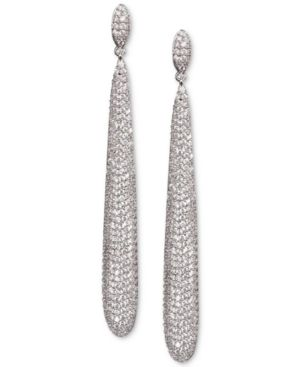 NINA Silver-Tone Pave Slim Elongated Drop Earrings in Rhod/White