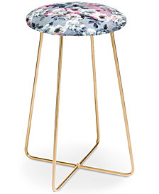 Deny Designs Emanuela Carratoni Vintage Floral Theme Counter Stool
