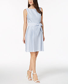Anne Klein Shadow-Stripe Fit & Flare Dress