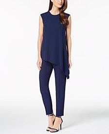 Anne Klein Asymmetrical Top & Slim-Fit Pants