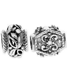 Rhona Sutton 2-Pc. Fancy Filigree Bead Charms in Sterling Silver