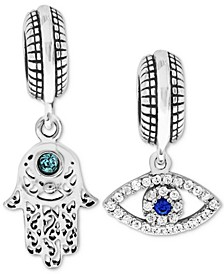 2-Pc. Set Cubic Zirconia Hamsa Hand and Evil-Eye Drop Charms in Sterling Silver