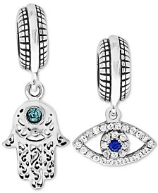 Rhona Sutton 2-Pc. Set Cubic Zirconia Hamsa Hand and Evil-Eye Drop Charms in Sterling Silver