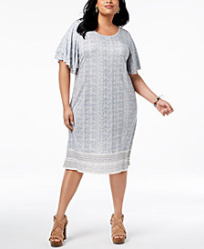 Lucky Brand Trendy Plus Size Ruffled-Sleeve Dress