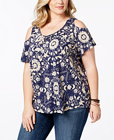 Lucky Brand Trendy Plus Size Printed Cold-Shoulder Top