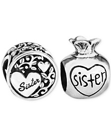 2-Pc. Set Sister Love & Treasure Bead Charms in Sterling Silver