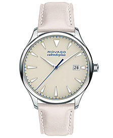 Movado Men's Swiss Heritage Series Calendoplan Gray Putty Leather Strap Watch 40mm