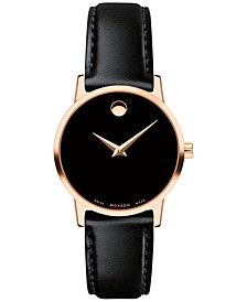 Women's Swiss Museum Classic Black Leather Strap Watch 28mm