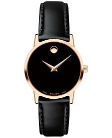 Women's Swiss Museum Classic Black Leather Strap Watch 28mm