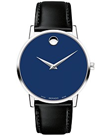Men's Swiss Museum Classic Black Leather Strap Watch 40mm