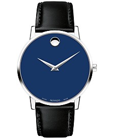 Movado Men's Swiss Museum Classic Black Leather Strap Watch 40mm