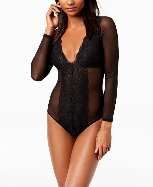 ae1485ade1 INC International Concepts I.N.C. Long-Sleeve Mesh   Lace Bodysuit ...
