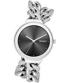 DKNY Women's Astoria Stainless Steel Double Wrap Chain Bracelet Watch 38mm, Created for Macy's