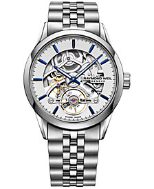 RAYMOND WEIL Men's Swiss Automatic Freelancer 1212 Stainless Steel Bracelet Watch 42mm