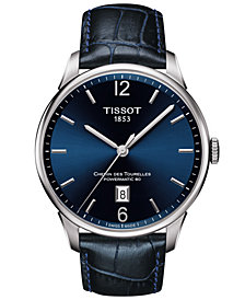 Tissot Men's Swiss Chemin des Tourelles Powermatic 80 T-Classic Blue Leather Strap Watch 42mm